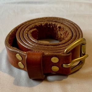 J. Crew Cognac Brown and Gold Belt size small